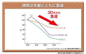 グラフ:年齢とともに急減する酵素の量