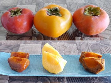 左から、ばってん甘柿、クイーンパーシモン、紀の川
