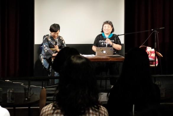 上映後に作品のを解説する湯山氏(右)と司会の塚田有那氏(左)
