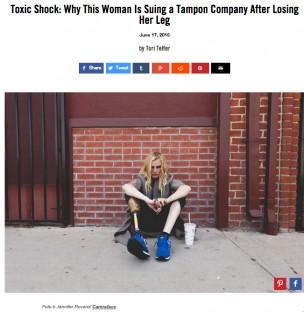 TSSにより脚を切断したカリフォルニア在住の女性