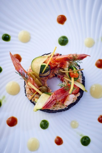 Royal Monceau Raffles Paris -Il Carpaccio - Large Prawn and Squid Ink Br...