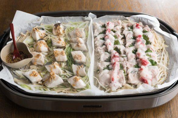 「白身魚の中華蒸し」と「豚の青ジソの梅おろし蒸し」