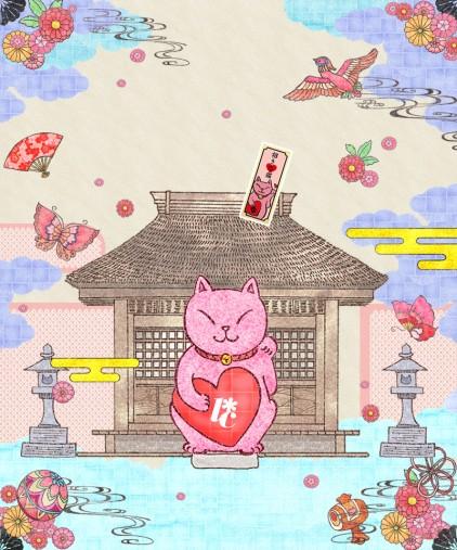 招き恋猫のシール