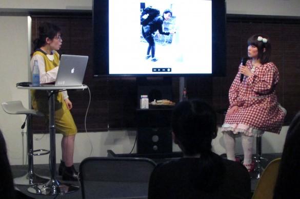 めがねちゃん(左)と、ゲストのロリィタ族(右)