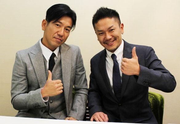 左:BLACK SWAN-Tokyo-代表の阿川氏、右:AV男優ホストの8chan氏