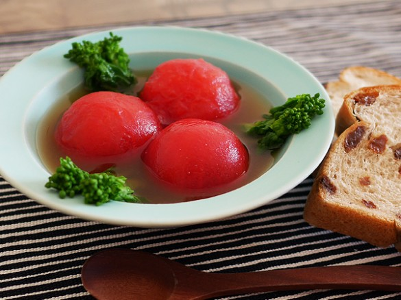 Red Miso Soup with Whole Tomatoes