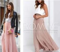 ROMWEのピンクプリーツスカート