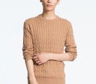 コットンカシミヤケーブルクルーネックセーター