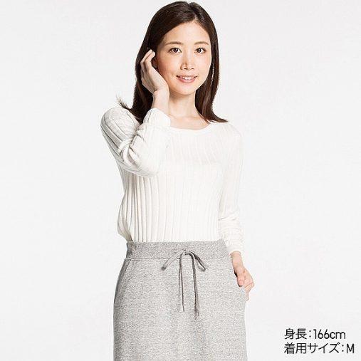 コットンカシミヤワイドリブセーター(長袖)
