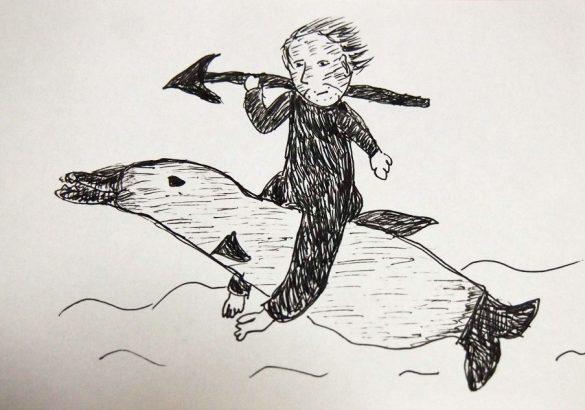 イルカと戯れる父