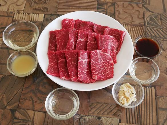 カルビ生姜焼き材料