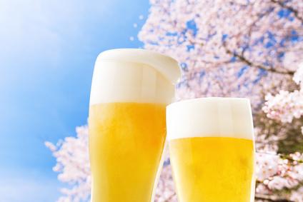 花見でビール