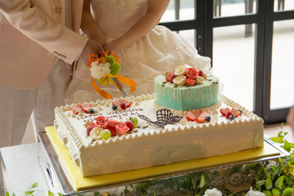 披露宴ケーキ入刀