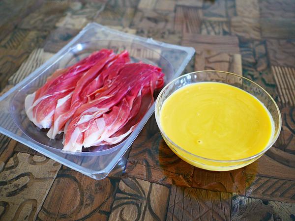 「生ハム」と「コーンスープ」