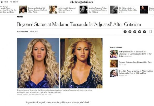 ビヨンセ蝋人形問題を報じる『ニューヨーク・タイムズ』