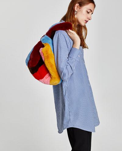 テクスチャー入り生地巾着型バッグ