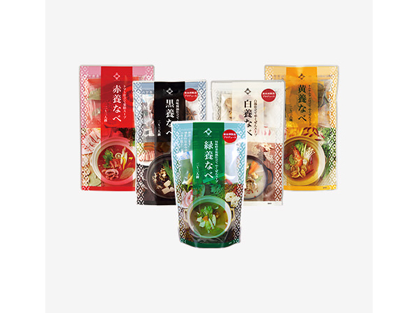 やくぜん鍋の素(養命酒製造)赤・黒・白・黄・緑 5色の薬膳鍋キット