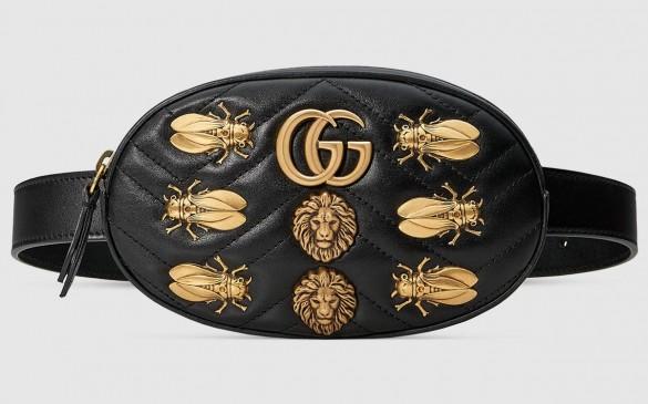 グッチ「GGマーモント」アニマルスタッズ付き レザーベルトバッグ