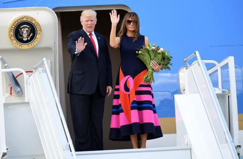 2017年6月、ポーランドを訪れたトランプ大統領とメラニア夫人