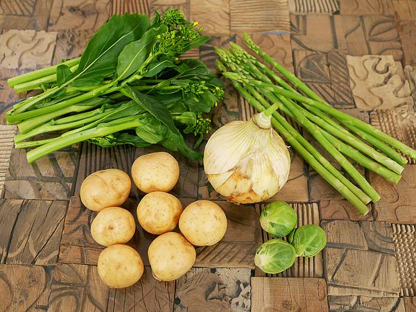 春野菜食材例:アスパラ菜、新じゃがいも、芽キャベツ、新たまねぎ、アスパラガス