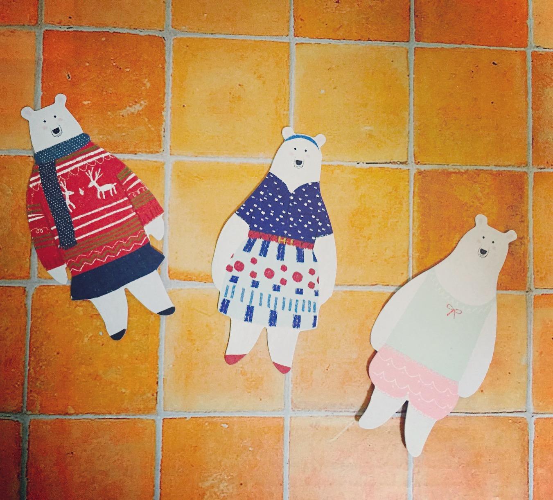 キュートなクマのメッセージカード