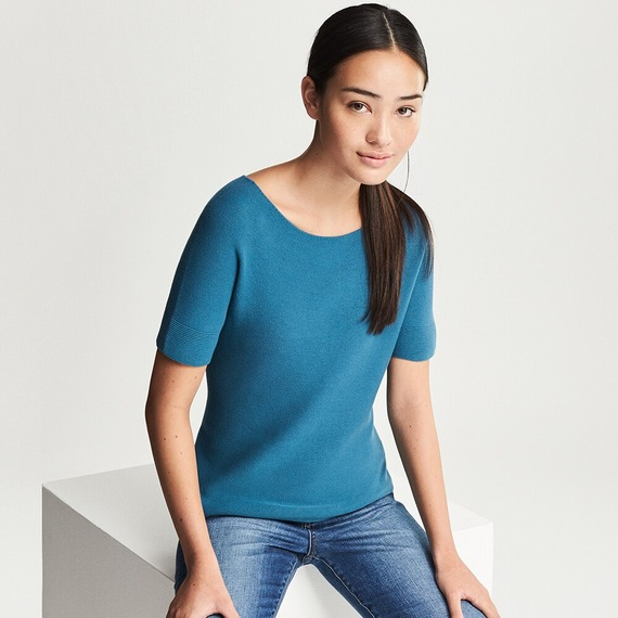 3Dコットンクルーネックセーター