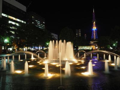北海道札幌、大通公園の噴水