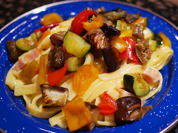 グリル野菜(冷凍カルボナーラにトッピング)