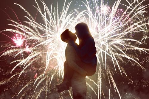 花火でキス