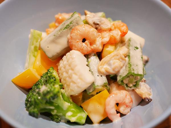 エビマヨ炒めソース ゆで野菜&シーフード