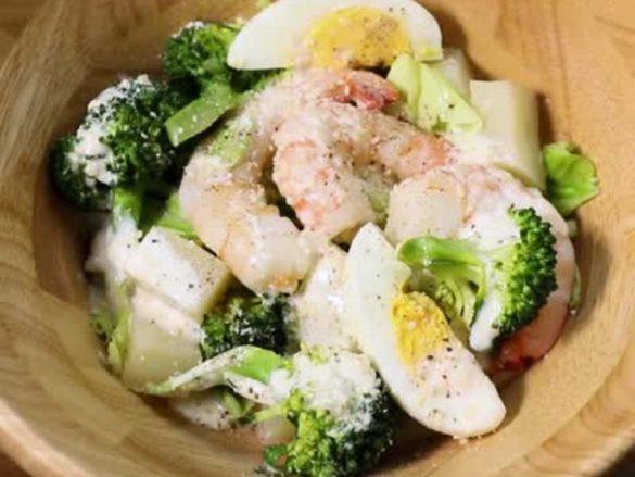 海老とブロッコリーのシーザーサラダ