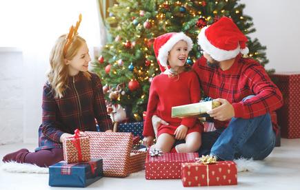 クリスマスの朝、家族、ファミリークリスマス