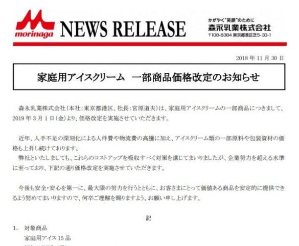 森永乳業のニュースリリース