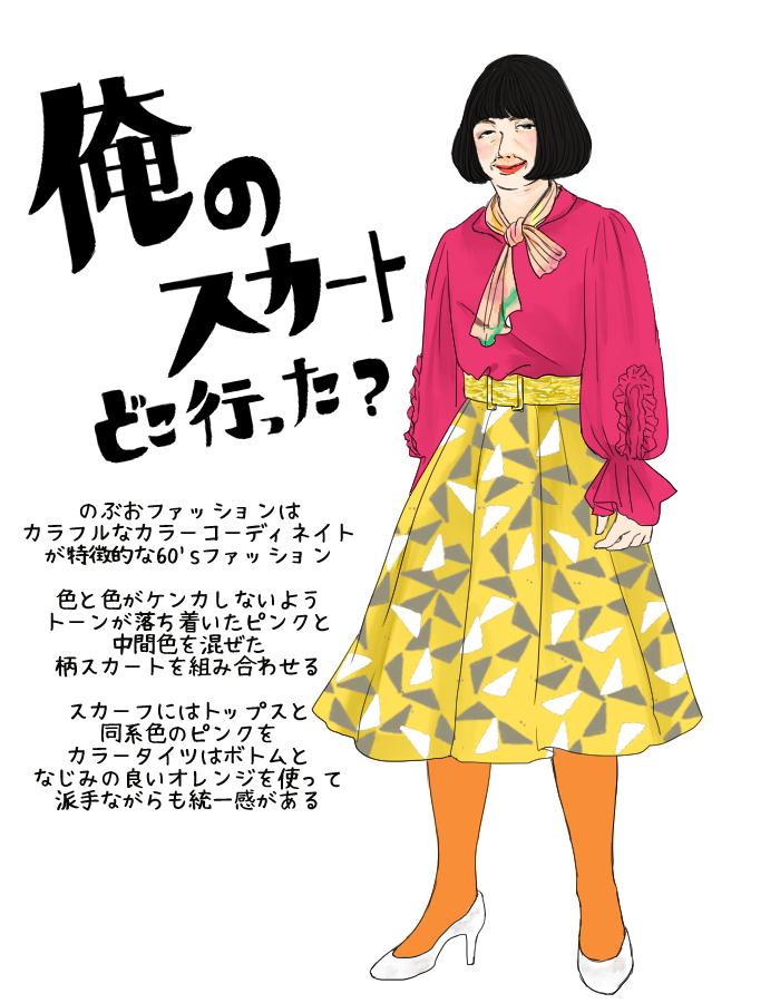 ドラマ「俺のスカート、どこ行った?」マゼンダ×イエロー柄スカート