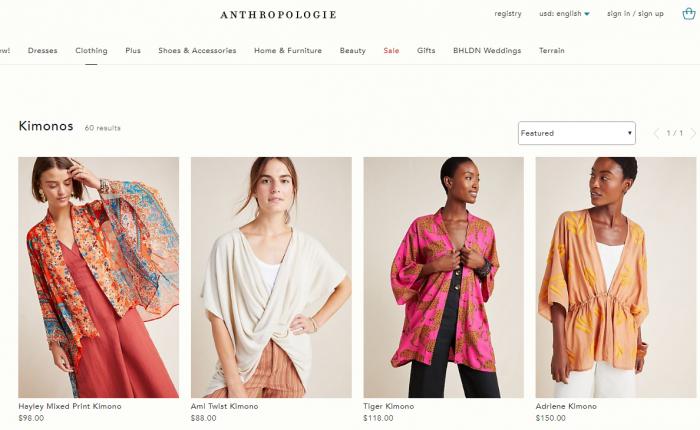 KIMONOで検索すると多くの「キモノ」と名付けられた洋服が出てくる(画像:anthropologieより)