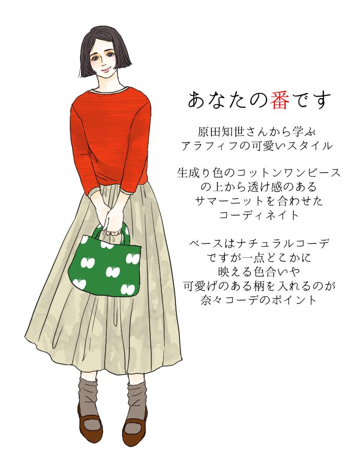『あな番』原田知世の赤のサマーニット+生成りワンピース