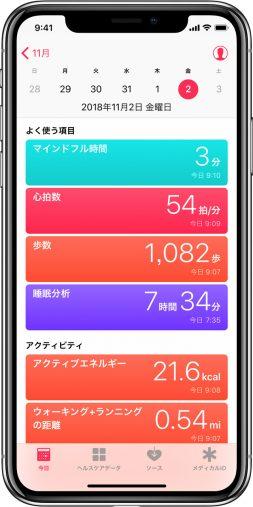 iPhone ヘルスケア App(画像 Apple サポートより)