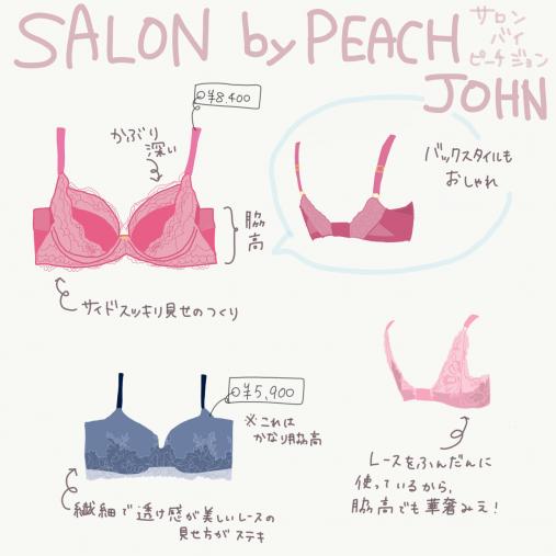 SALON by PEACH JOHN「美しのブラ」¥8,400、「ワークフルールレーシィブラ」¥5,900