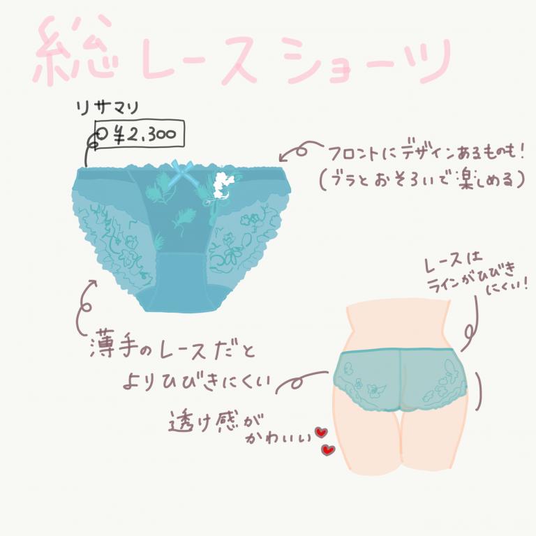 リサマリ「シャイン レースショーツ」¥2,300 ライン響きにくいショーツ