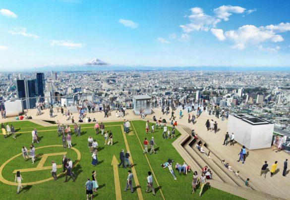渋谷スクランブルスクエア第I期(東棟)SHIBUYA SKY 屋上展望空間と富士山の眺望イメージ