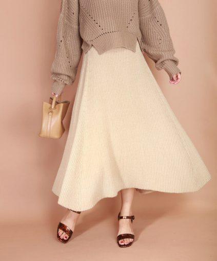 MESSAGE D'AMOUR「Aラインフレアニットスカート」