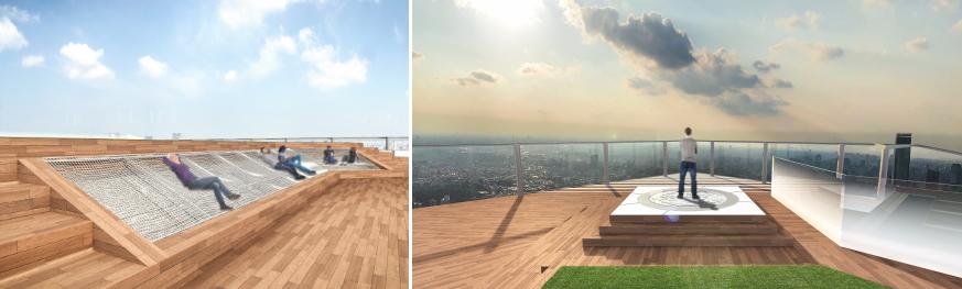 渋谷スクランブルスクエア第I期(東棟)SHIBUYA SKY 左:「CLOUD HAMMOCK」イメージ、右:「GEO COMPASS」イメージ