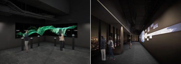 渋谷スクランブルスクエア第I期(東棟)SHIBUYA SKY  左:「TIME RIVER」イメージ、右:「DATA SCAPE」イメージ