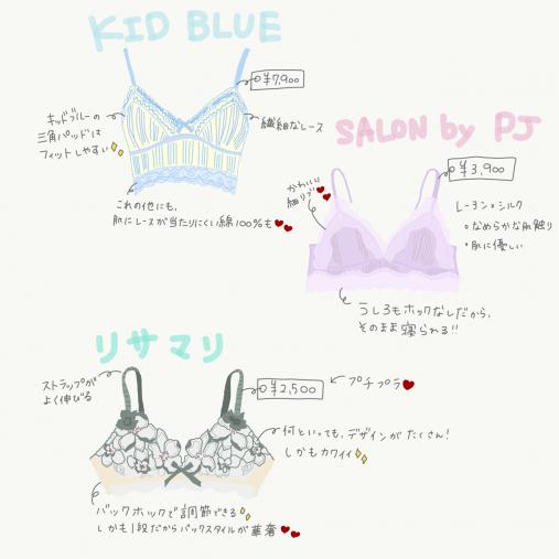 KID BLUE「ソフトブラジャー」¥7,900、SALON by PEACHJOHN「シルクレーヨンフルールブラレット」¥3,900、リサマリ「ファシル ソフトブラ」¥2,500