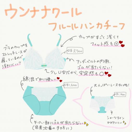 ウンナナクール ビタードットコットンシリーズ「フルールハンカチーフ 3/4カップブラ」¥ 3,500、「ショーツ」¥1,600、「ボーイレングス」¥1,900