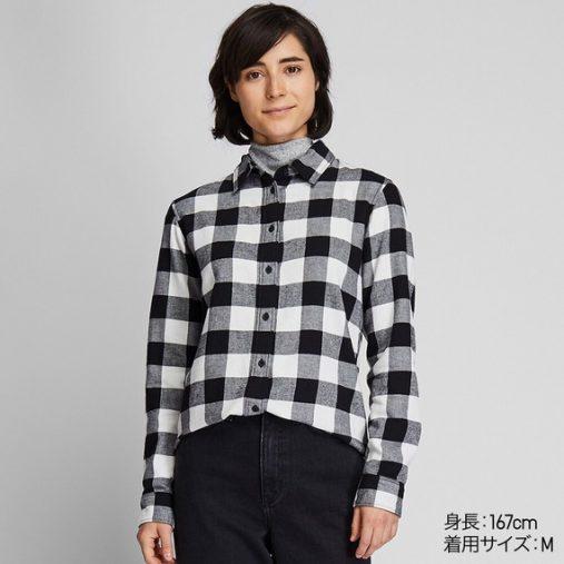 ユニクロ「フランネルチェックシャツ(長袖)」¥1,990 カラー:09 BLACK (画像:ユニクロ公式サイトより)
