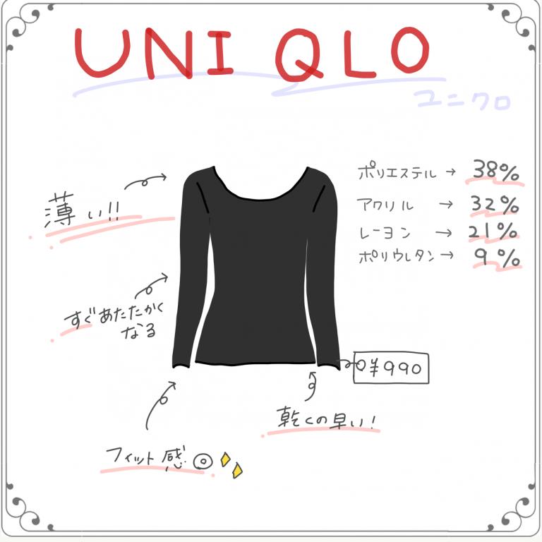 ユニクロ「ヒートテッククルーネックT(長袖)」¥990