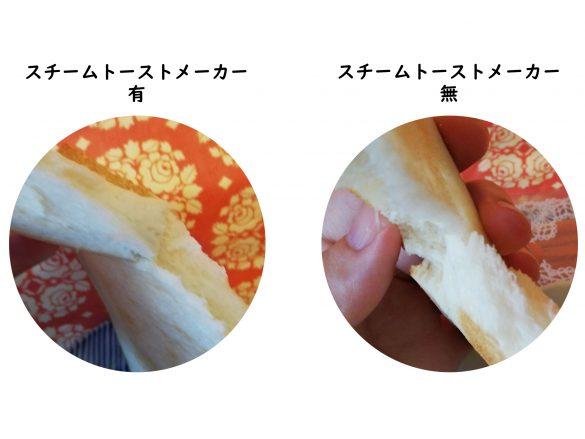 スチームトーストメーカー無と有で焼いたトースト