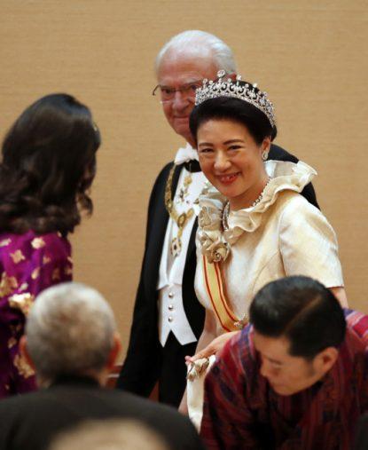 「饗宴の儀」の雅子さま。皇居・宮殿、代表撮影