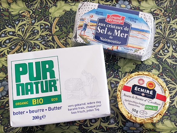 PUR NATUR オーガニック発酵バター(輸入者:カネカ食品)、セル・ドゥ・メール(輸入者:イー・ティー・ジェイ)、エシレ バター(輸入者:片岡物産)